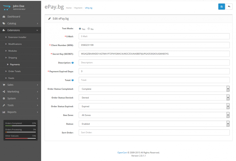 Payment gateway via ePay.bg
